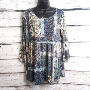 Andree by Unit/ Blue Green Peasant Tunic Top/ Med